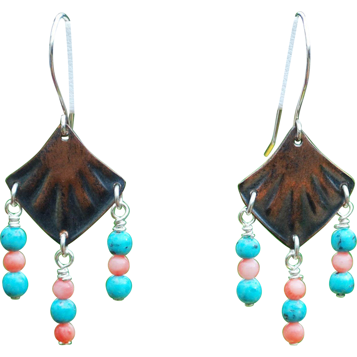 Copper, Turquoise and Coral Earrings