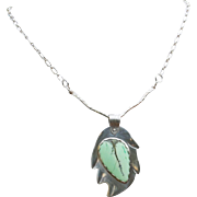 "Sterling Silver and Chrysoprase Necklace: ""New Leaf"""