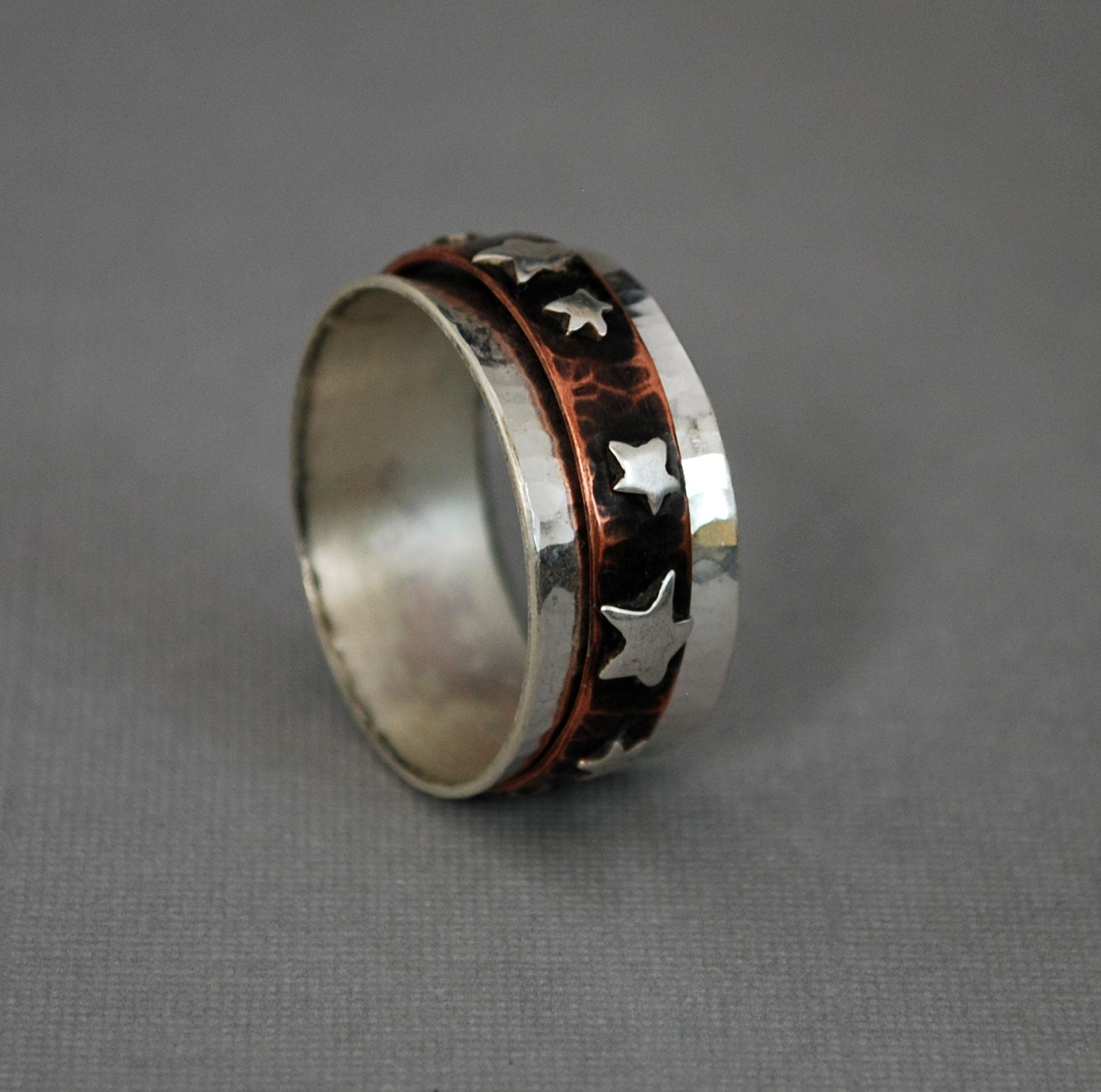 Star Spinner Ring Silver Copper Fid Ring from