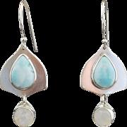 Silver Larimar and Moonstone Drop Earrings