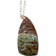 Silver and Copper Pendant with Green Jasper