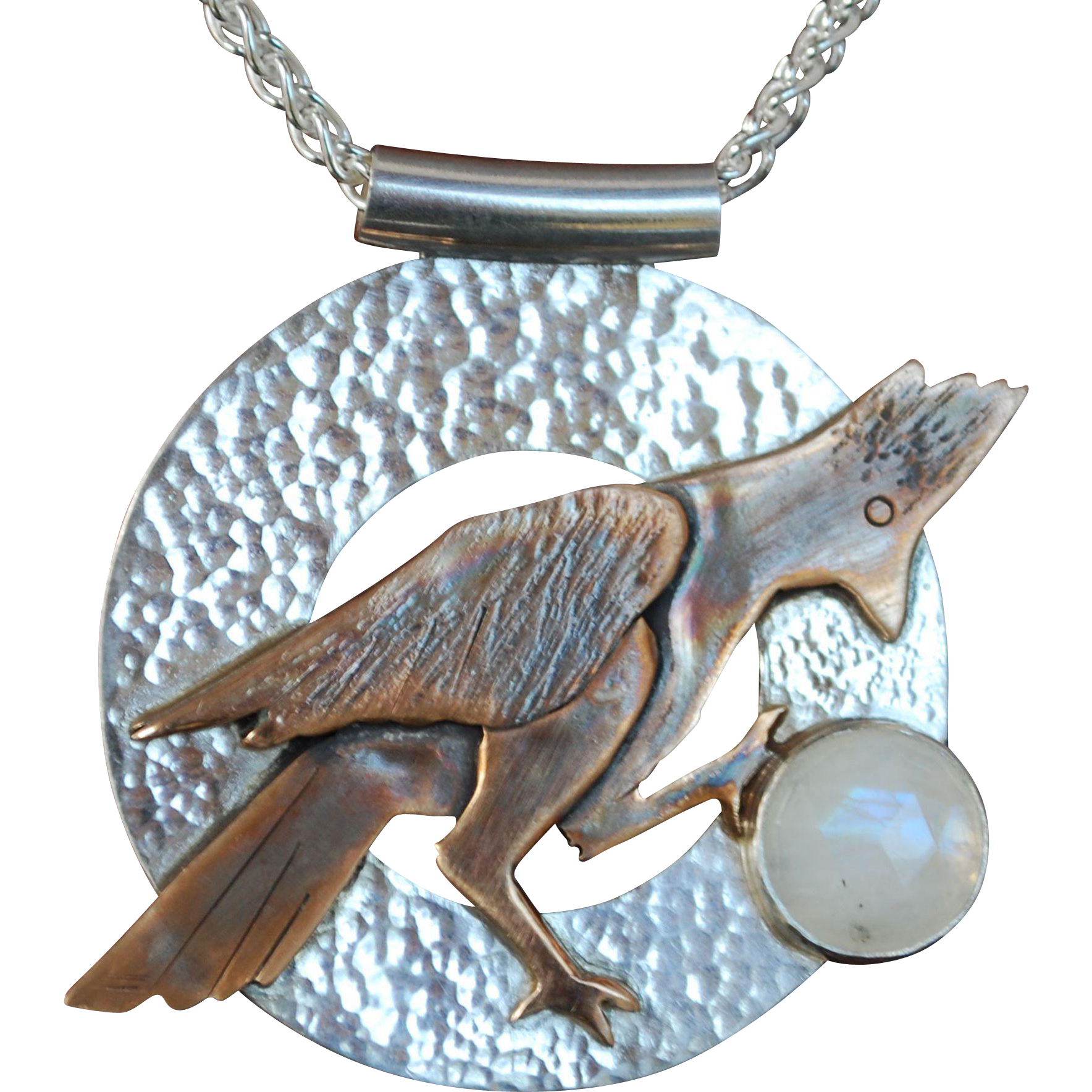 Silver, Bronze and Moonstone Blue Jay Pendant