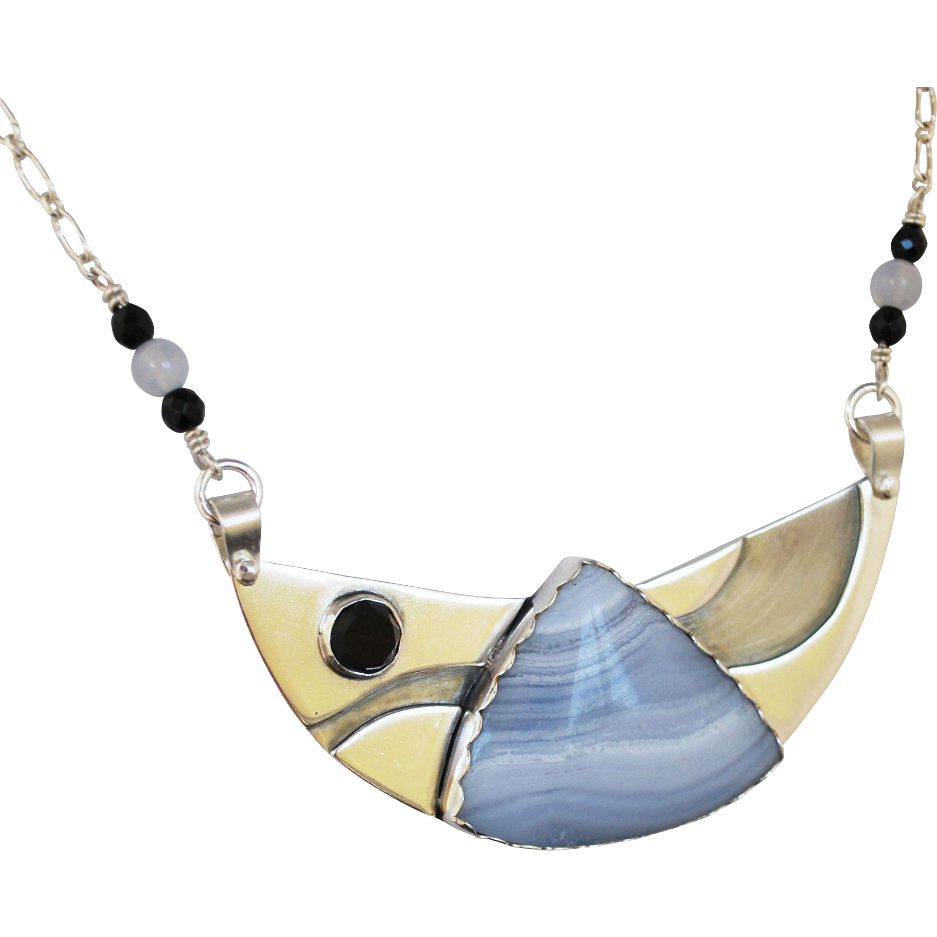 Silver Statement Pendant with Blue Lace Agate and Black Onyx
