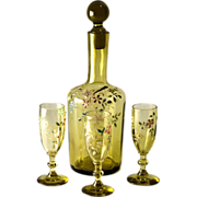 Hand enameled decanter and three cordial glasses