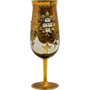 Bohemian Glass Goblet with Gold and Applied Enamel