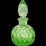 Czechoslovakia Green Gut Glass Perfume Bottle