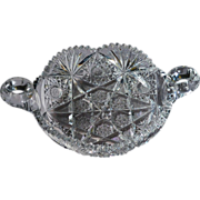 American Brilliant Cut Glass Two-Handled Low Bowl