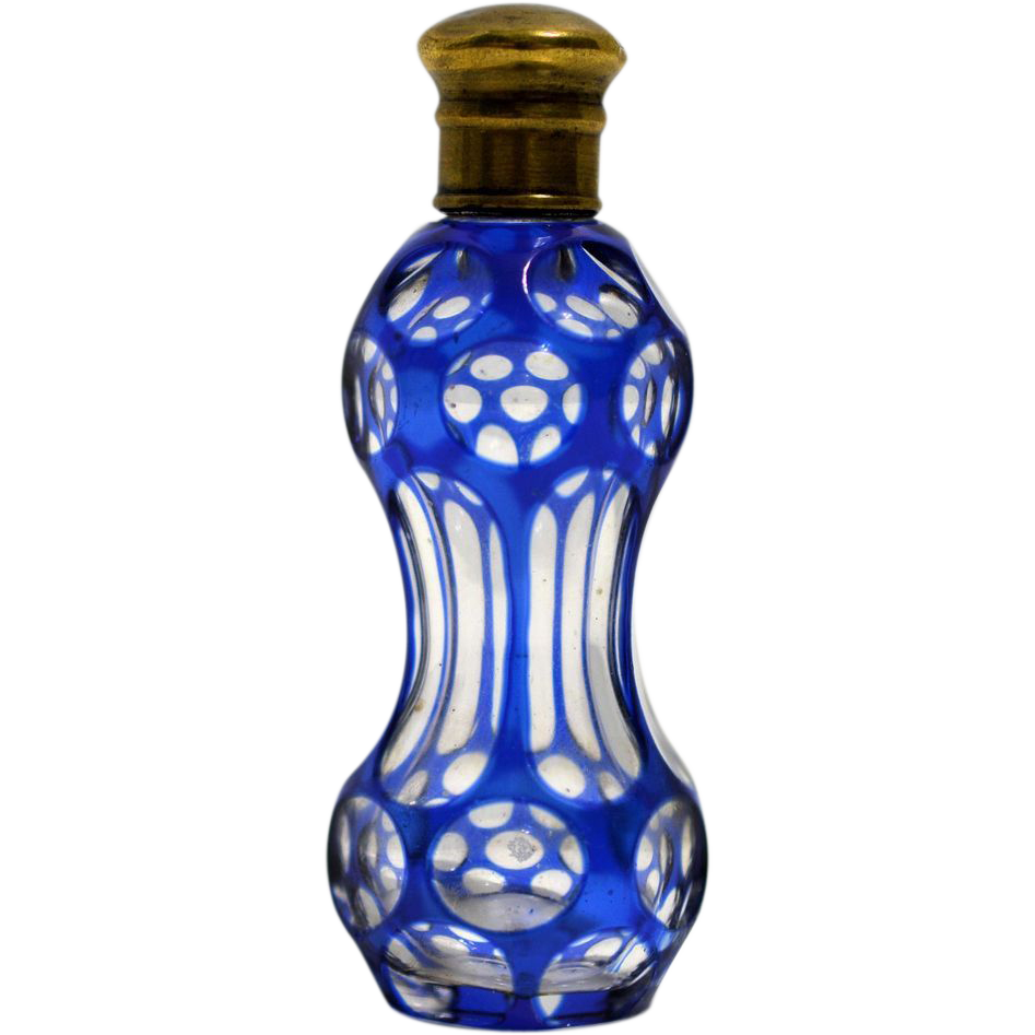 Small Cobalt Blue Cut to Clear Perfume Bottle