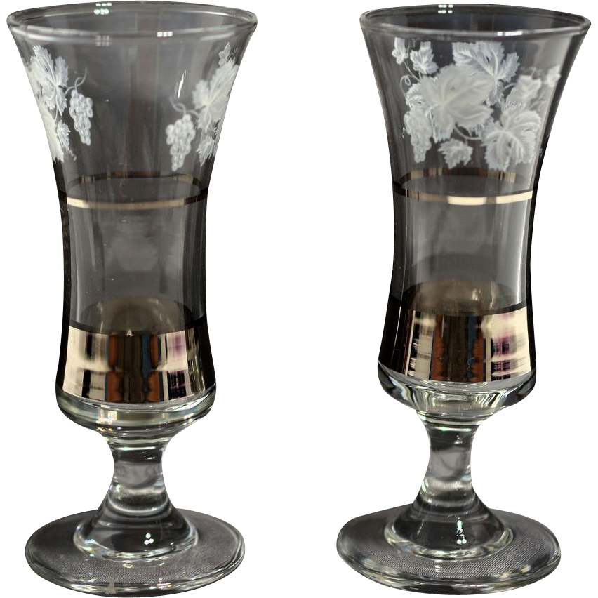 Pair Enameled Cordial Glasses with Silver