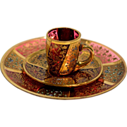 Bohemian Enameled Demitasse and Saucer – plus extra Saucer