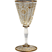 Bohemian Glass Cordial Engraved with Gold and Silver