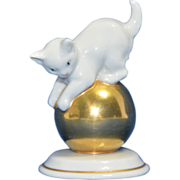 Small Rosenthal Cat Kitten on a Gold Ball