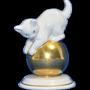 Small Rosenthal Cat Kitten on a Gold Ball