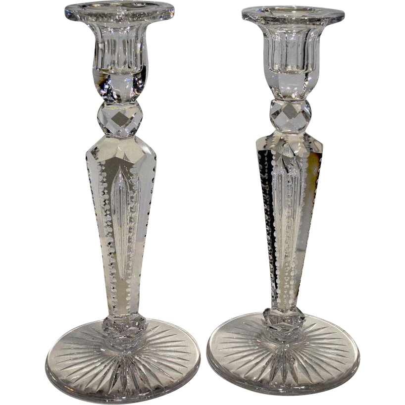 Pair American Brilliant Cut Glass Candle Holders, Candle Sticks