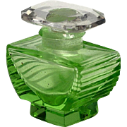 Czechoslovakia Green Cut Glass Mini Perfume Bottle