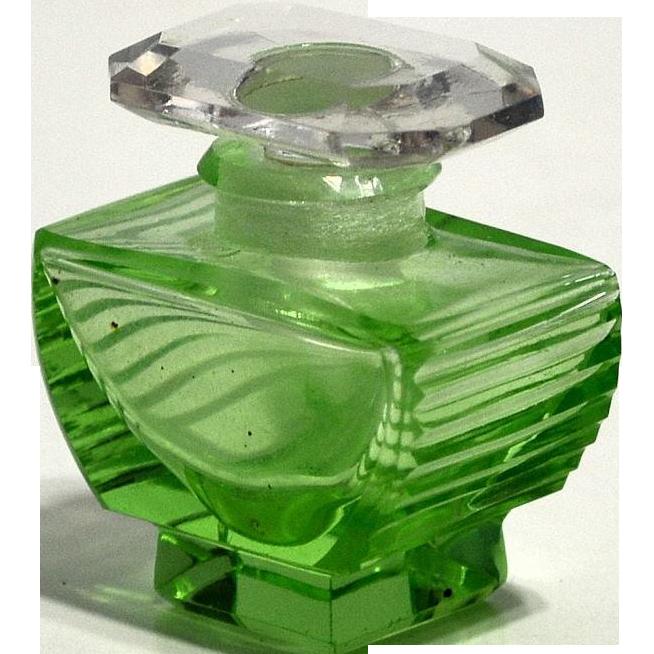 Czechoslovakia Green Cut Glass Mini Perfume Bottle