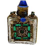 "Czechoslovakia Perfume with Blue and Green Glass ""Gems"""