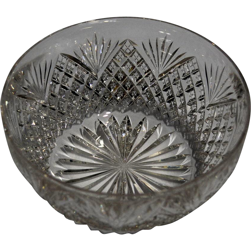 Hawkes Small American Brilliant Cut Glass Bowl -- Strawberry Diamond and Fan