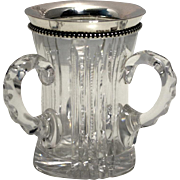 American Brilliant Cut Glass Three Handled Toothpick Holder, Sterling Rim by Wilcox