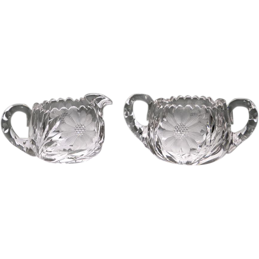American Brilliant Cut Glass Cream and Sugar Set with Flower Pattern