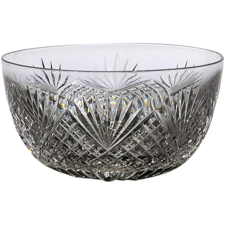 Small Cut Glass Bowl- Strawberry Diamond and Fan Pattern