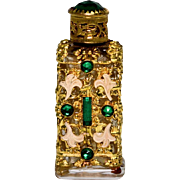 Czechoslovakia Perfume Bottle with Green Glass Gems
