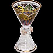 Nineteenth Century Engraved, Enameled Bohemian Glass Cordial