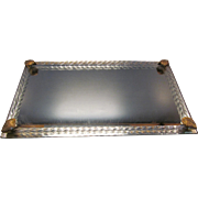Vintage Mirror Tray With Twisted Glass With Brass Ornaments