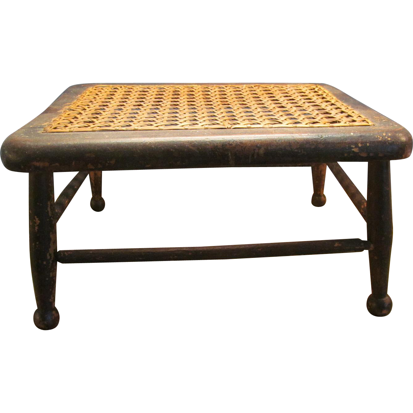 Amazing photo of Primitive Foot or Milking Stool Wooden with Cane Seat Red Tag Sale  with #B67A15 color and 1345x1345 pixels