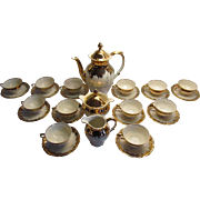 Porcelain Demitasse Tea Set with Coffee Pot, 10 Cups and Saucers