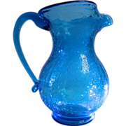 Crackle Glass Pitcher Vase Turquoise Blue Hand Blown
