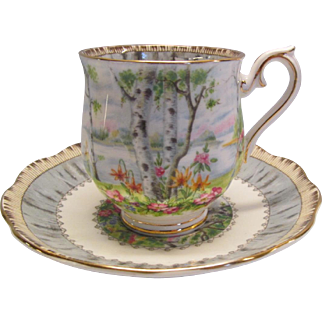"Royal Albert Bone China Demitasse Cup and Saucer ""Silver Birch"" England"