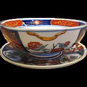 Vintage Oriental Goldimari Bowl and Plate Hand Painted Japan