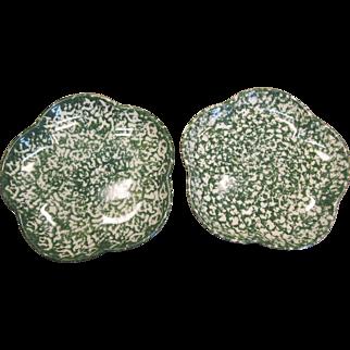 Henn Pottery Green Sponge Wear (2) Salad Plates