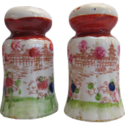Oriental Salt and Pepper Shakers Geisha Hand Painted Made In Japan