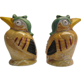 Salt and Pepper Shakers Kookaburra Birds German Hand Painted