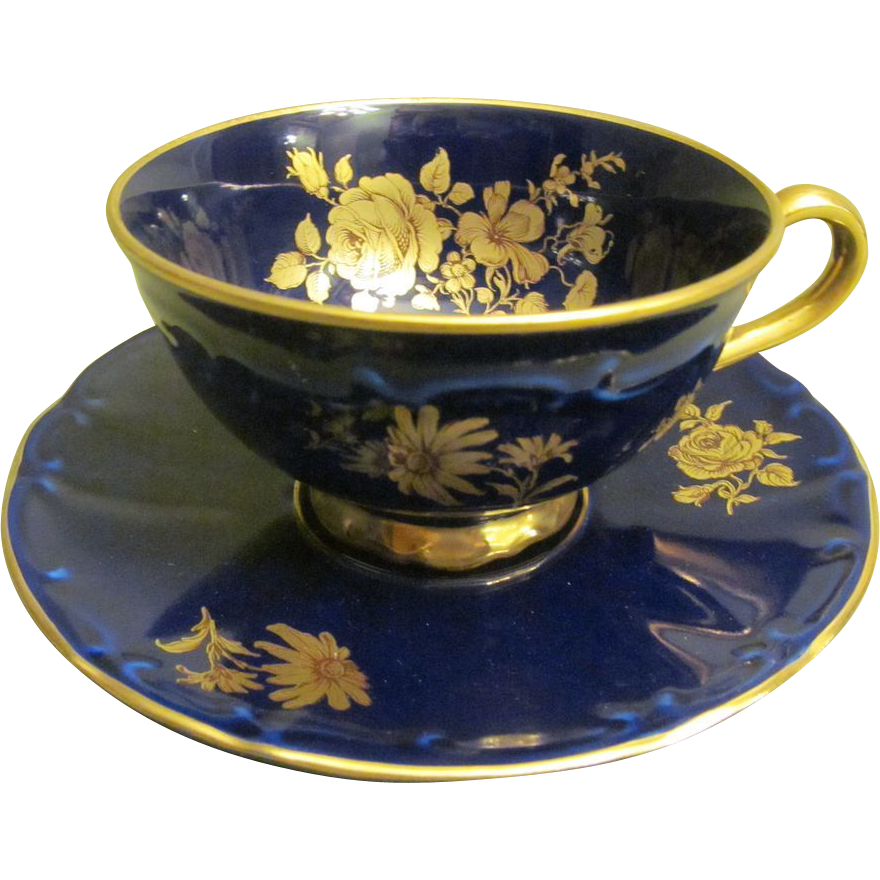 Tea Cup And Saucer Cobalt Blue With 22 Ct Gold Bareuther