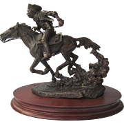 "Bronze Sculpture Limited Edition by Legends ""Hell Bent For Letters"" Horse and Rider"