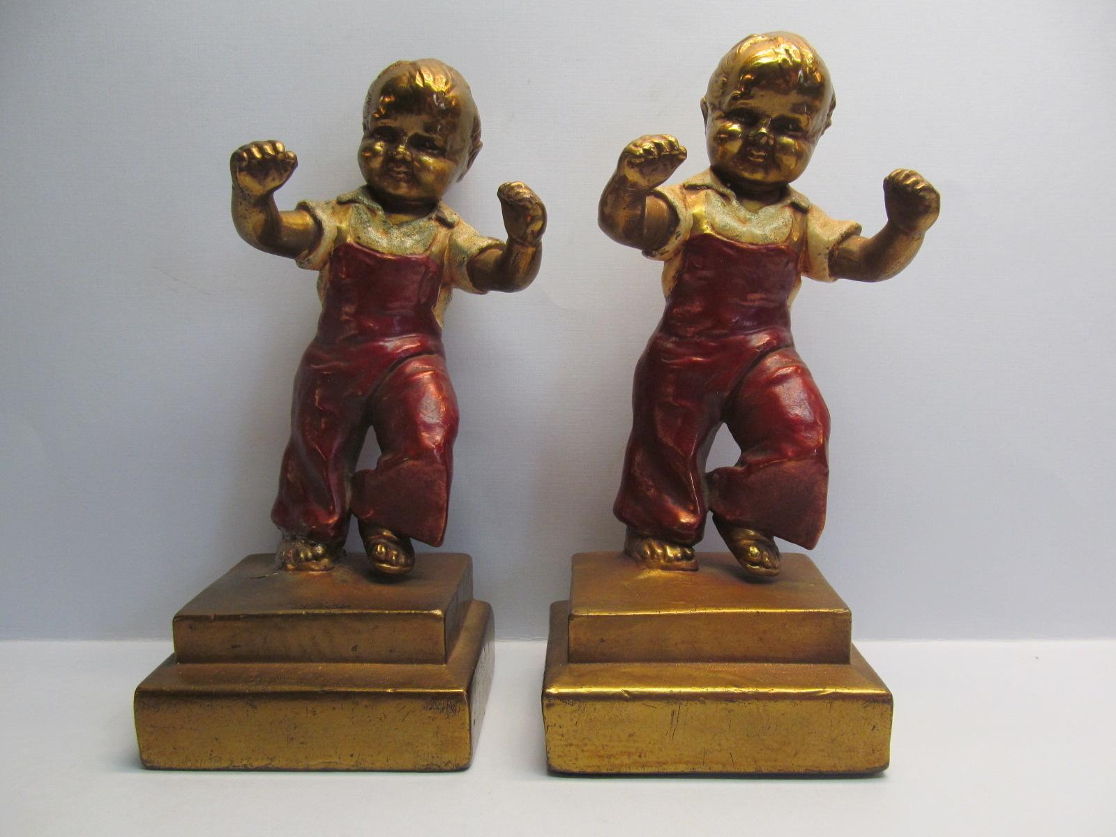 Bookends by charles jenings boys jumping armor bronze 1920 c from artgate on ruby lane - Armor bronze bookends ...
