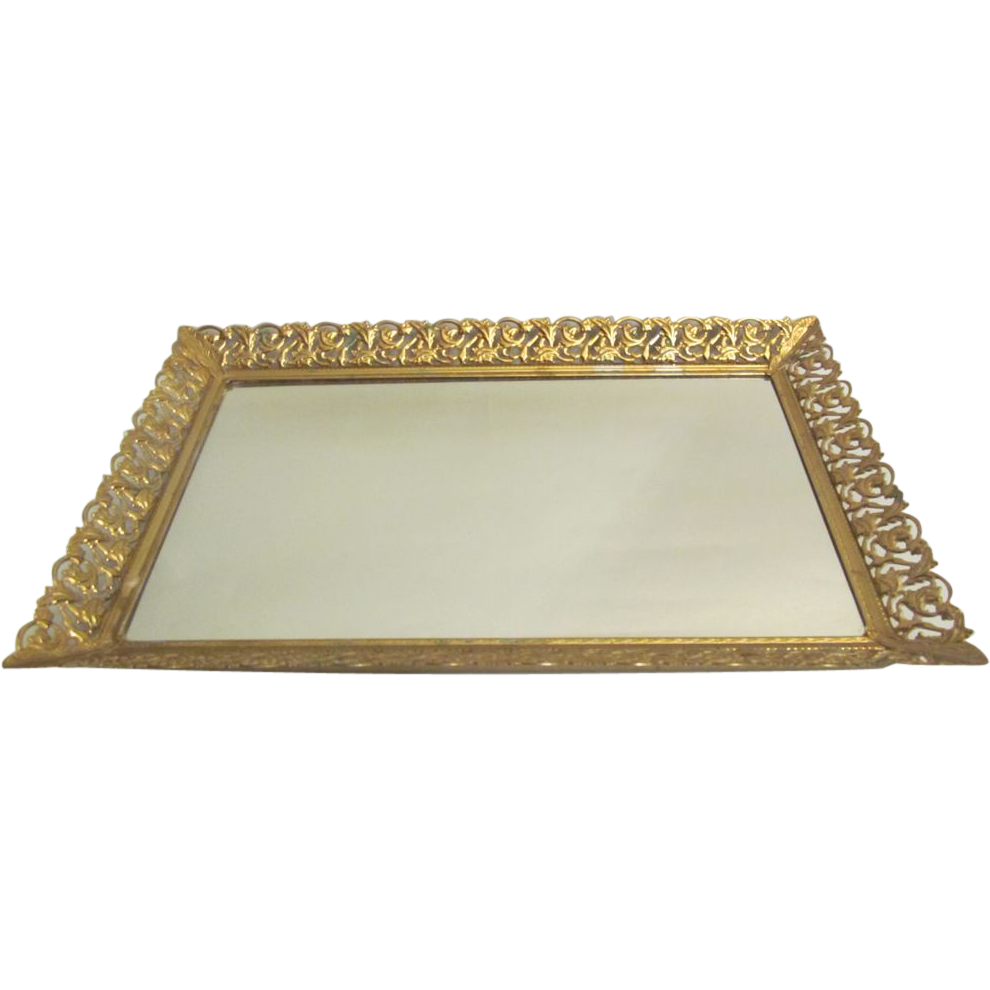 Rectangular Vanity Mirror Tray With Gold Gilt SOLD on Ruby
