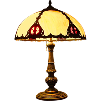 Salem Brothers Metal Overlay Slag Lamp 1920-30 c