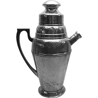 Cocktail Shaker, Jigger Two Goblets Silverplate 1924 c