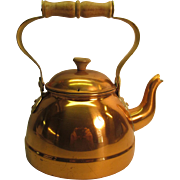 Copper Tea Kettle with Brass and Wood Handle and Knob