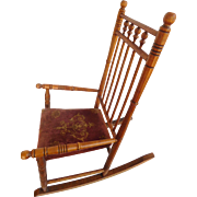 Child's spool Rocking Chair Wood, Cloth Seat