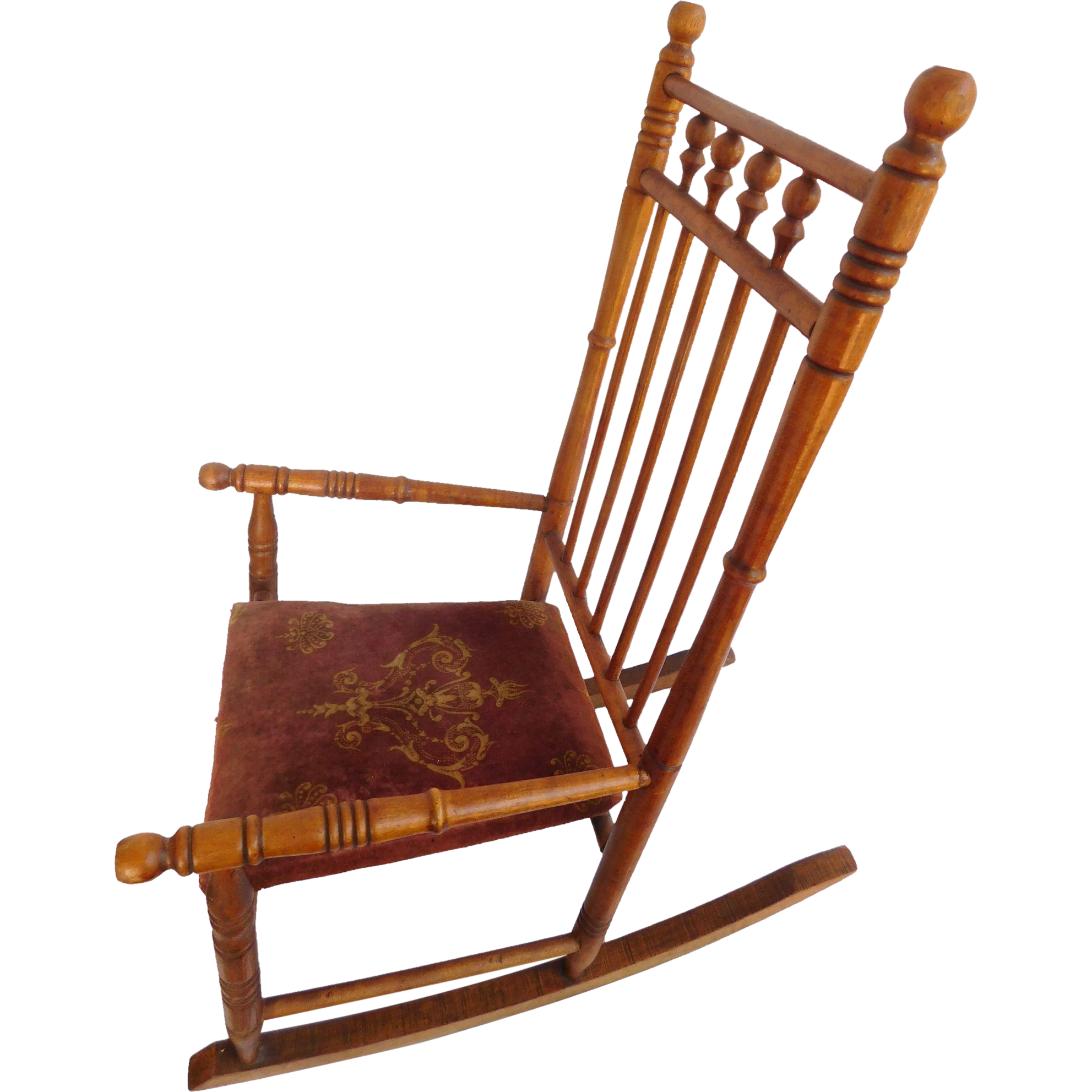 Childu0027s Spool Rocking Chair Wood, Cloth Seat : Artgate Treasures | Ruby Lane