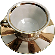 Demitasse Cup and Saucer Gold and White German