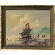 Nordic Fishing Ship Scene Oil Painting on Canvas Post Modern Impressionism Signed