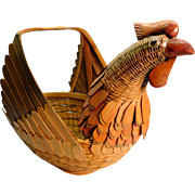 Egg Basket Woven with Colorful Hen or Chicken Design