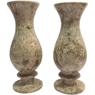Marble Vases Taupe Colored With Pedestal Base