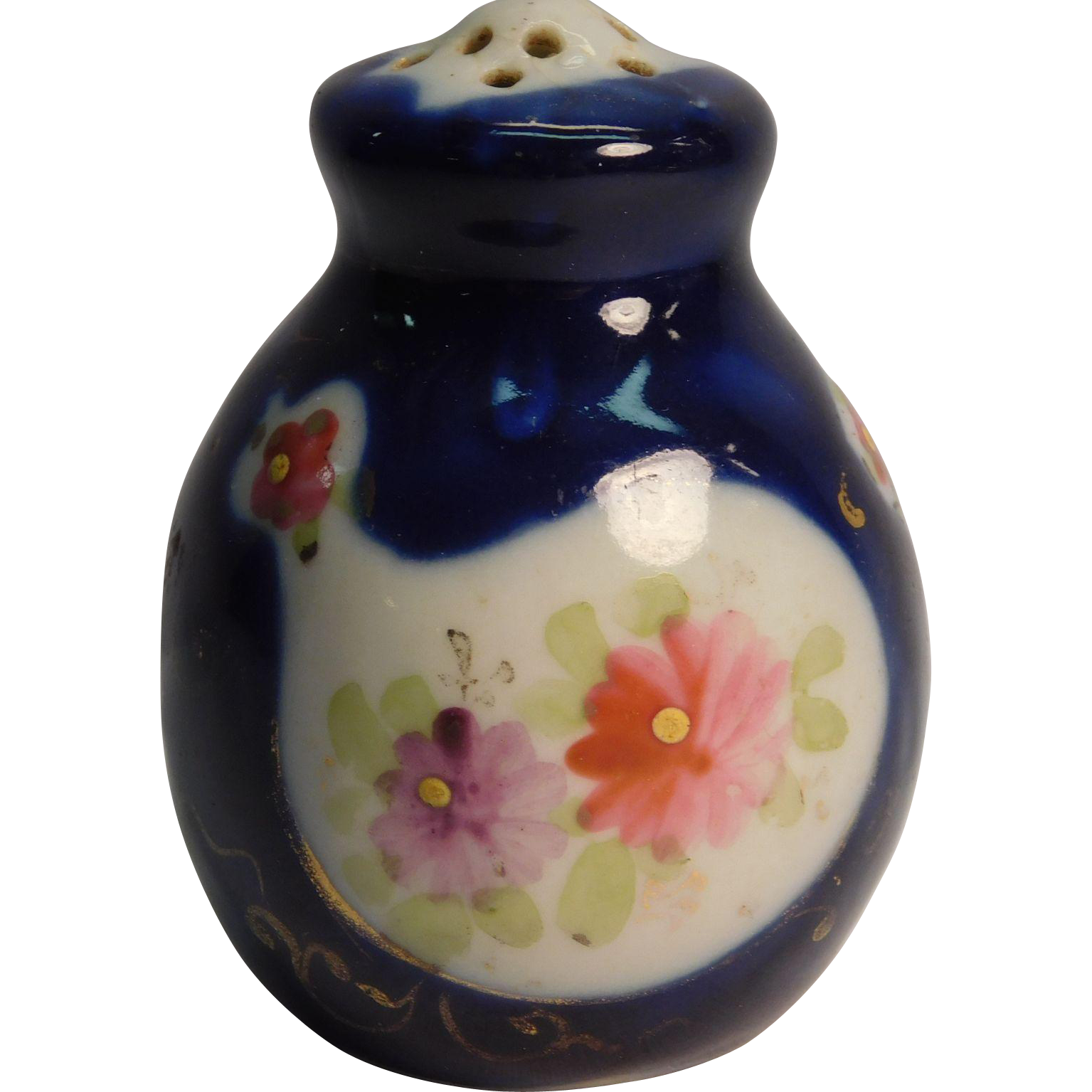 Unique Salt Or Pepper Shaker Cobalt Blue With Chicken